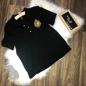 Ralph Lauren Black with Gold Crest Button Up Polo